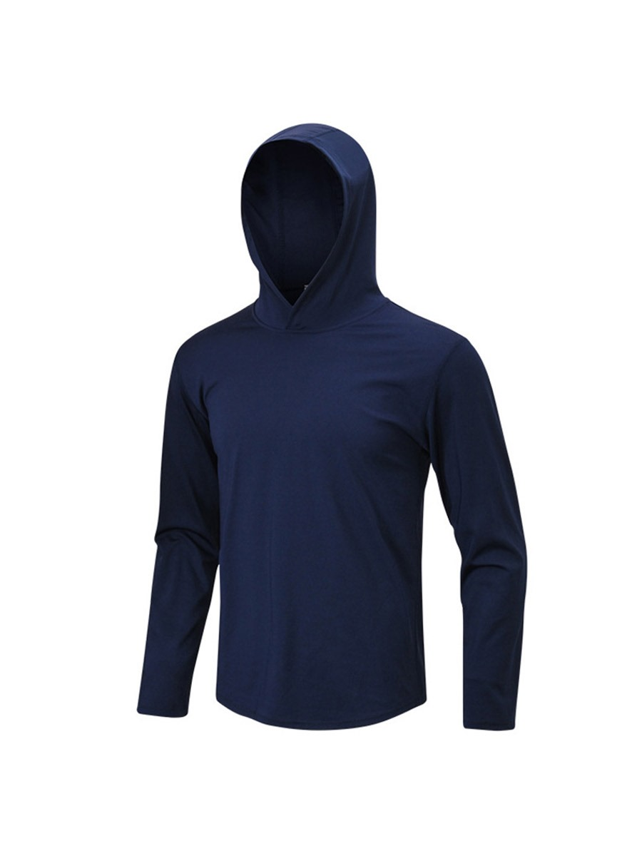 Ericdress Solid Quick Dry Pullover Long Sleeve Hooded Sports Tops