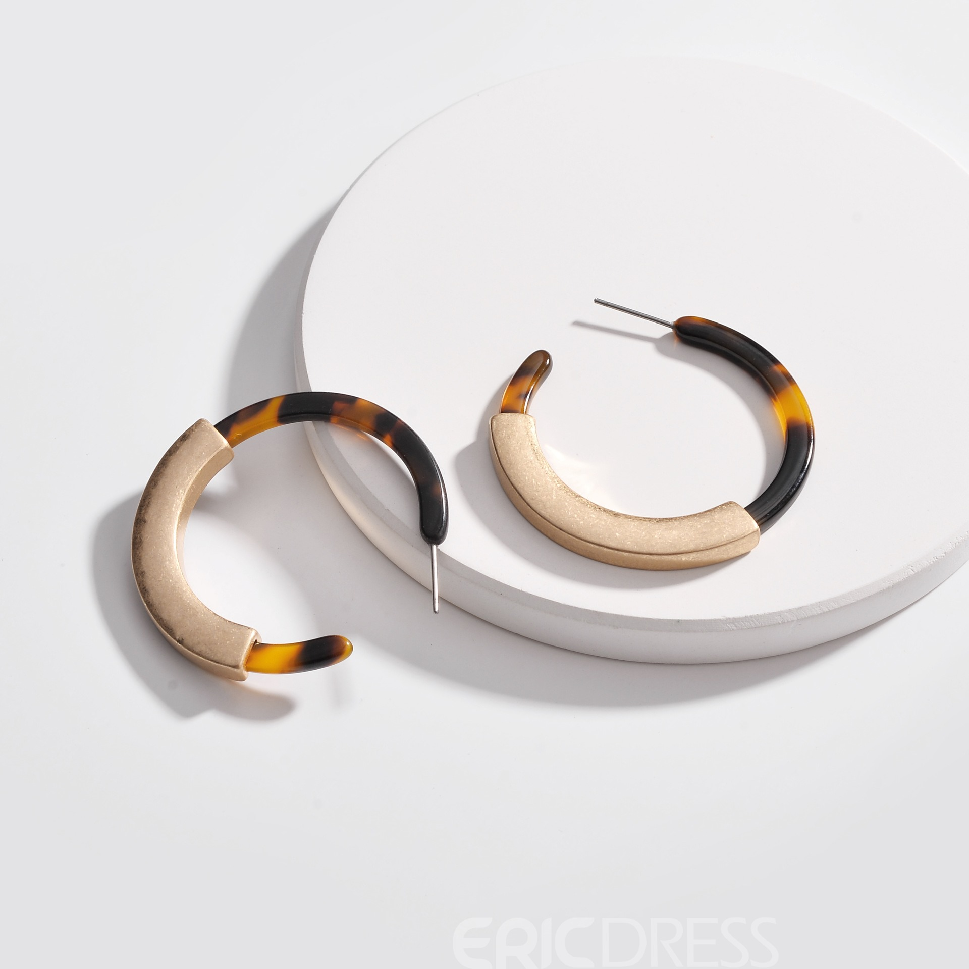 Ericdress Alloy Amber Hoop Earrings