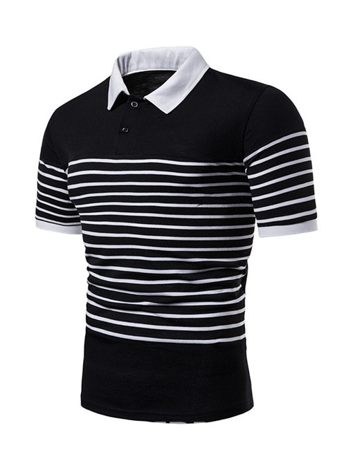 Ericdress Patchwork Casual Inelastic Mens Polo Shirt