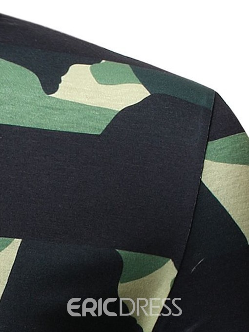 Ericdress Round Neck Camouflage Casual Mens Short Sleeve Slim T-shirt