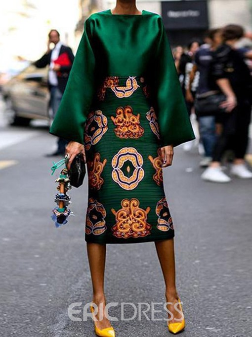 Ericdress African Fashion Floral Print A-Line Shirt And Skirt Two Piece Sets