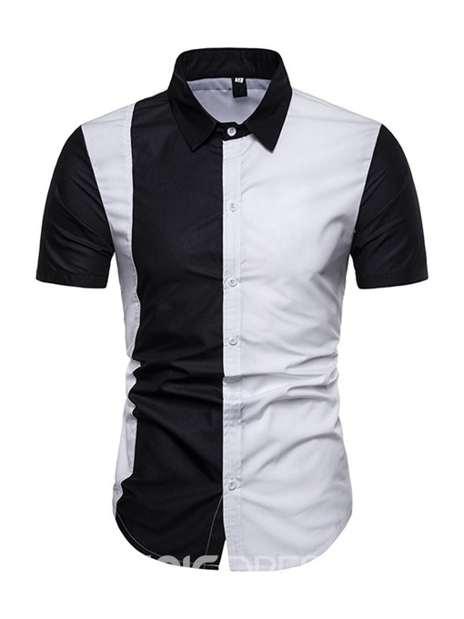 Ericdress Color Block Patchwork Casual Slim Mens Single-Breasted Shirt