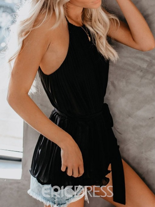 Ericdress Summer Lace-Up Spaghetti Straps Tank Top