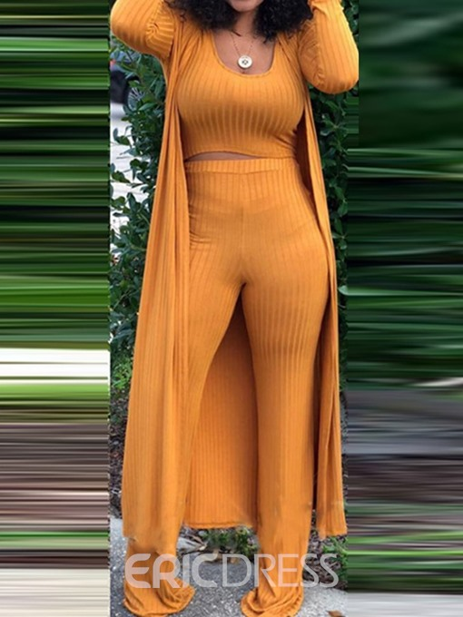 Ericdress Plain Slim Straight T-Shirt And Sweater And Pant Three Piece Sets