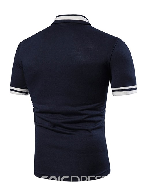 Ericdress Patchwork Color Block Mens Casual Summer Polo Shirt