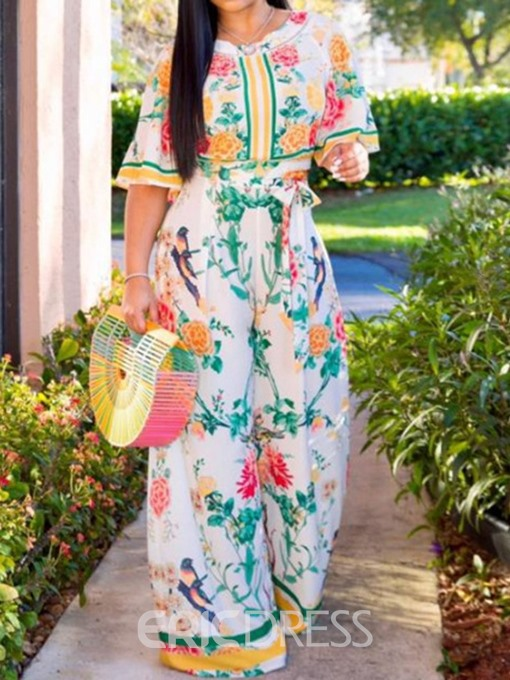 Ericdress Floral Full Length Lace-Up Wide Legs Loose Jumpsuit