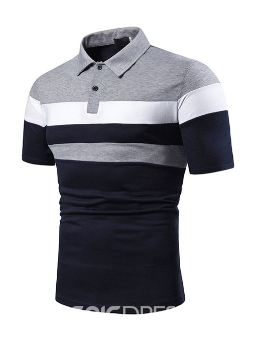 Ericdress Color Block Mens Inelastic Casual Polo Shirt