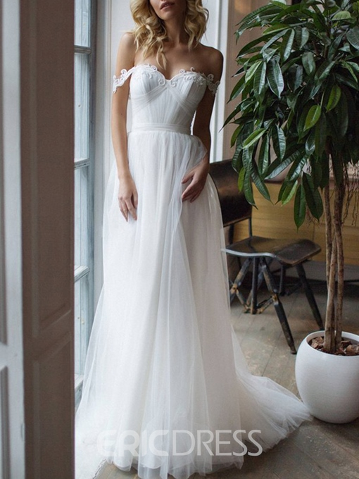 Floor-Length Sleeveless Appliques Beach Wedding Dress 2019