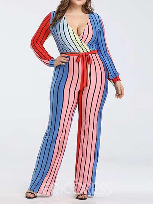 Ericdress Stripe Lace-Up Straight Slim Jumpsuit