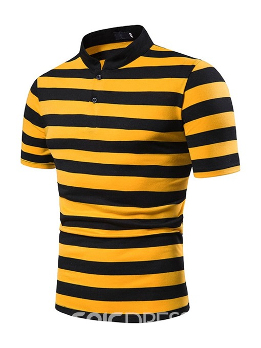 Ericdress Stripe Stand Collar Casual Mens Polo Shirt