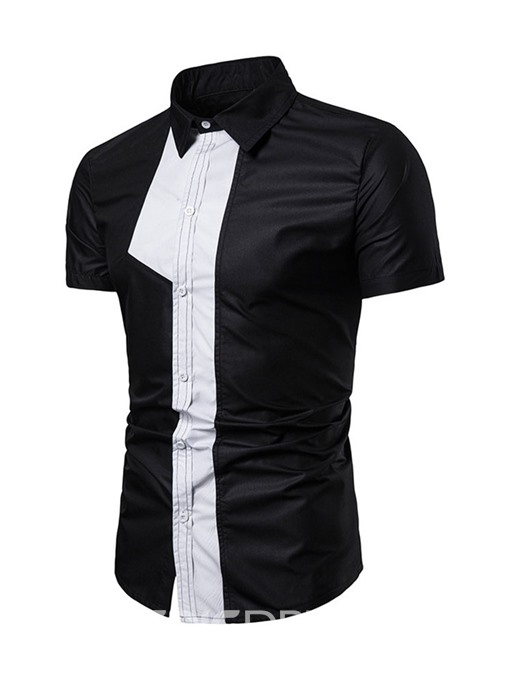 Ericdress Casual Color Block Patchwork Slim Mens Single-Breasted Shirt