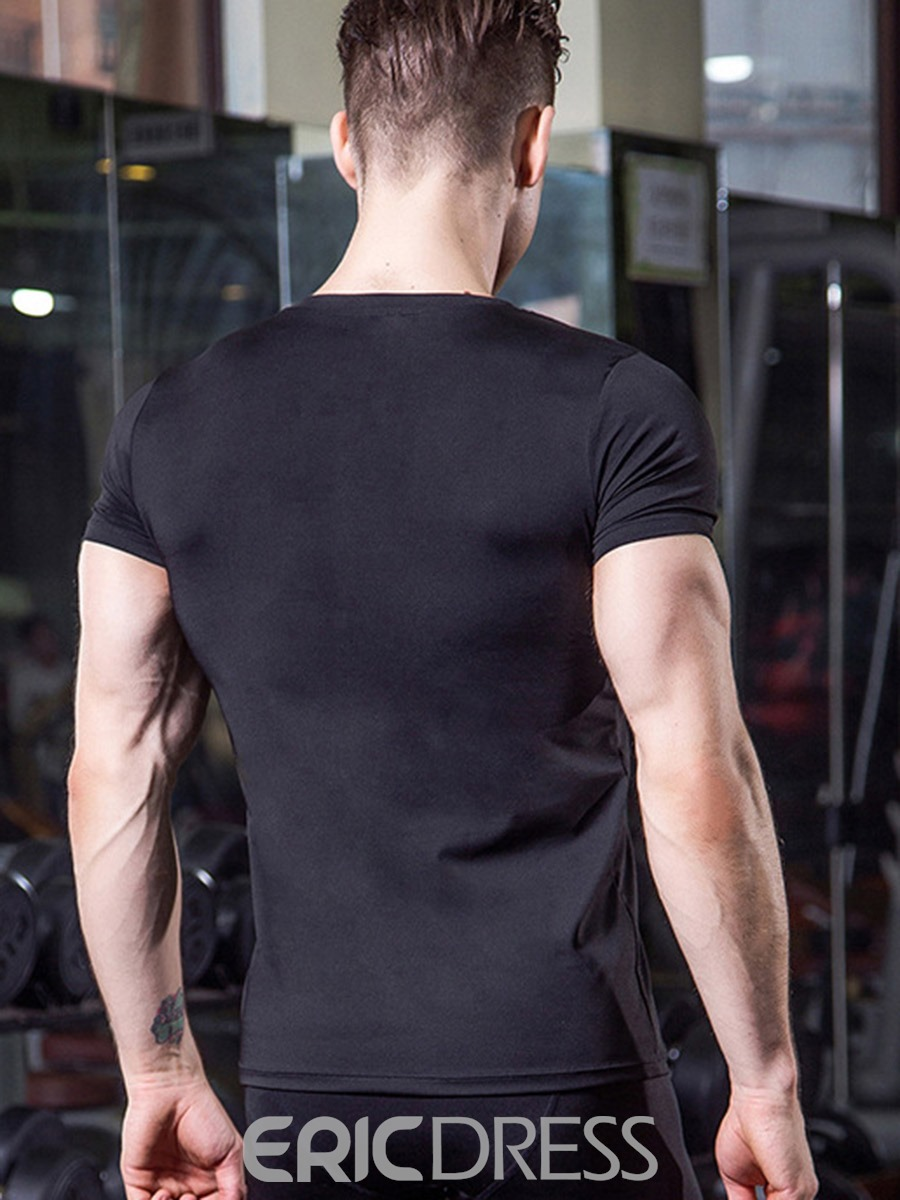 Ericdress Men Solid Anti-Sweat Pullover Sports Tops