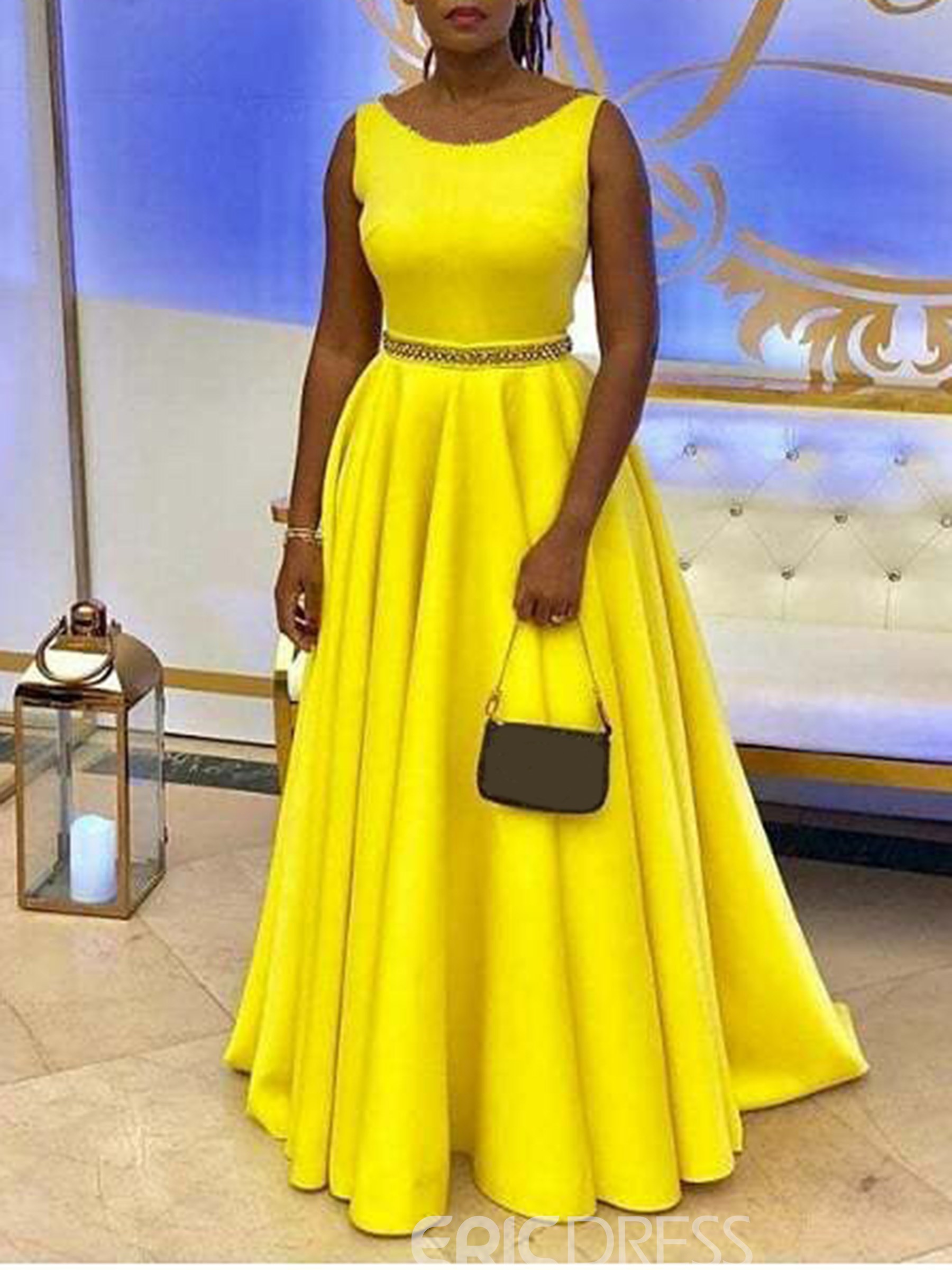 Ericdress Floor-Length Sleeveless Expansion Pleated Yellow Dress