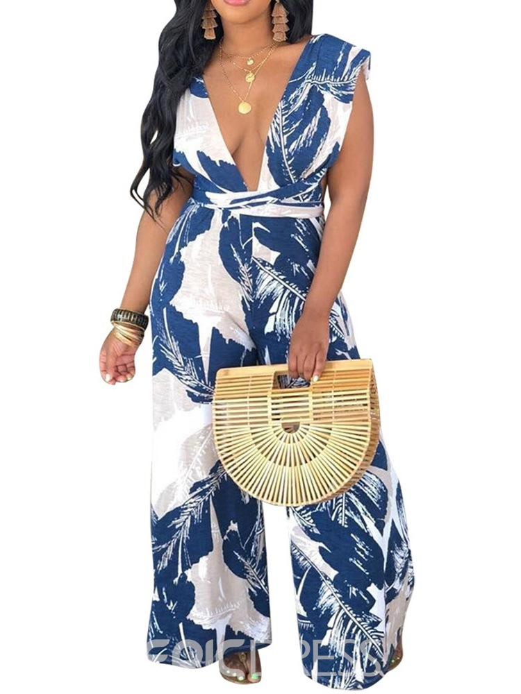 Ericdress Print Floral African Fashion Loose Jumpsuit