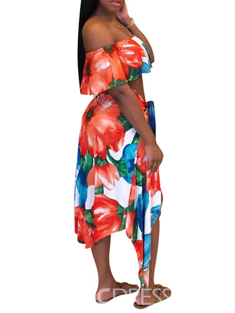 Ericdress Cotton Blends Print Sexy Floral Swimsuit
