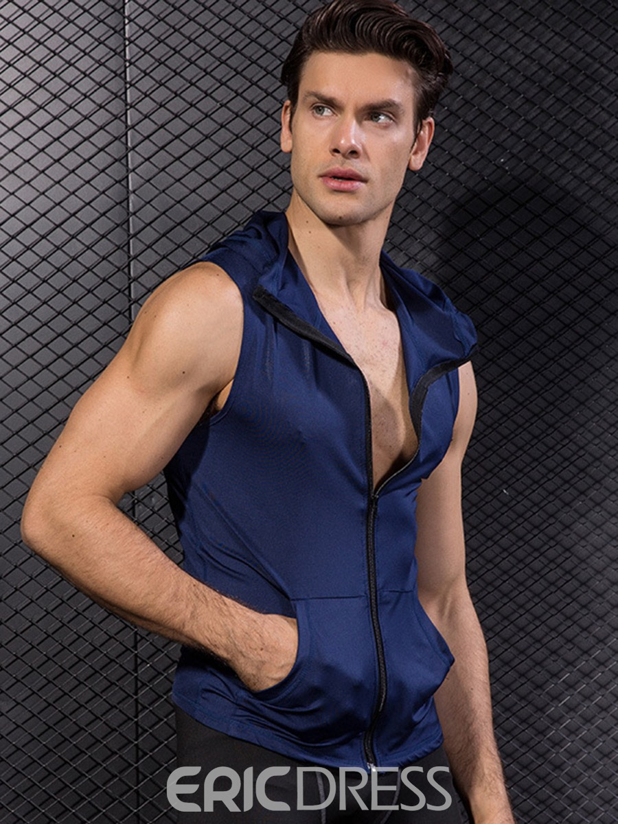 Ericdress Men Solid Zipper Sleeveless Hooded Sports Tops