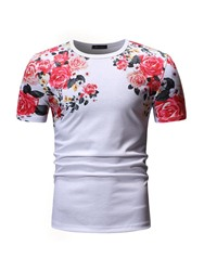 Ericdress Floral Print Casual Loose Mens Short Sleeve T-shirt фото