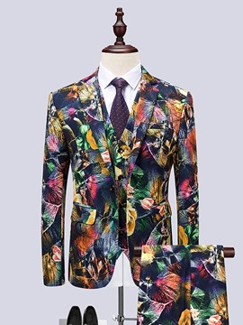 Ericdress Color Block One Button Mens Print Dress Suit