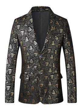 Ericdress Print Single-Breasted Slim Mens Blazer