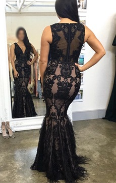 Ericdress Floor-Length V-Neck Lace Mermaid Evening Dress 2019