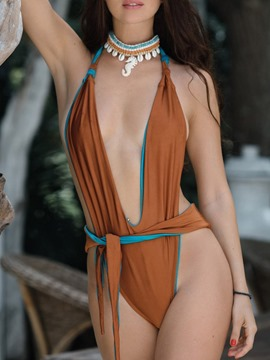 Ericdress Patchwork Beach Look Lace-Up Swimwear