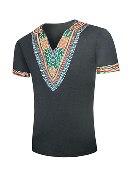 Ericdress African Fashion Dashiki Color Block Casual Print Mens Straight T-shirt