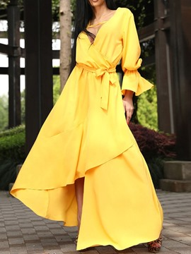 Ericdress V-Neck Long Sleeve Asymmetric Flare Sleeve Fashion Dress