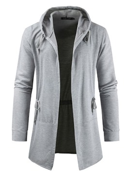 Ericdress Plain Lace-Up Men's Cardigan Hoodies