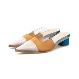 Ericdress Color Block Closed Toe Chunky Heel Women's Mules Shoes