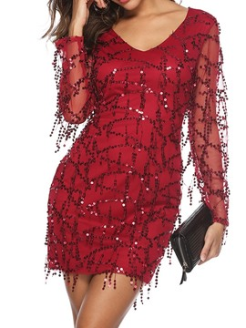 Ericdress Above Knee Long Sleeve Sequins Bodycon Mid Waist Dress