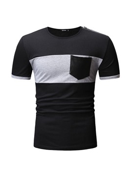 Ericdress Round Neck Color Block Pocket Loose Mens T-shirt