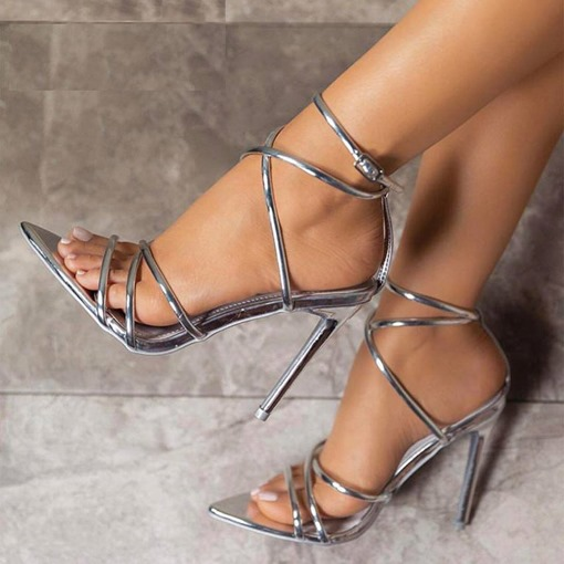 Ericdress PU Buckle Stiletto Heel Open Toe Women's Sandals