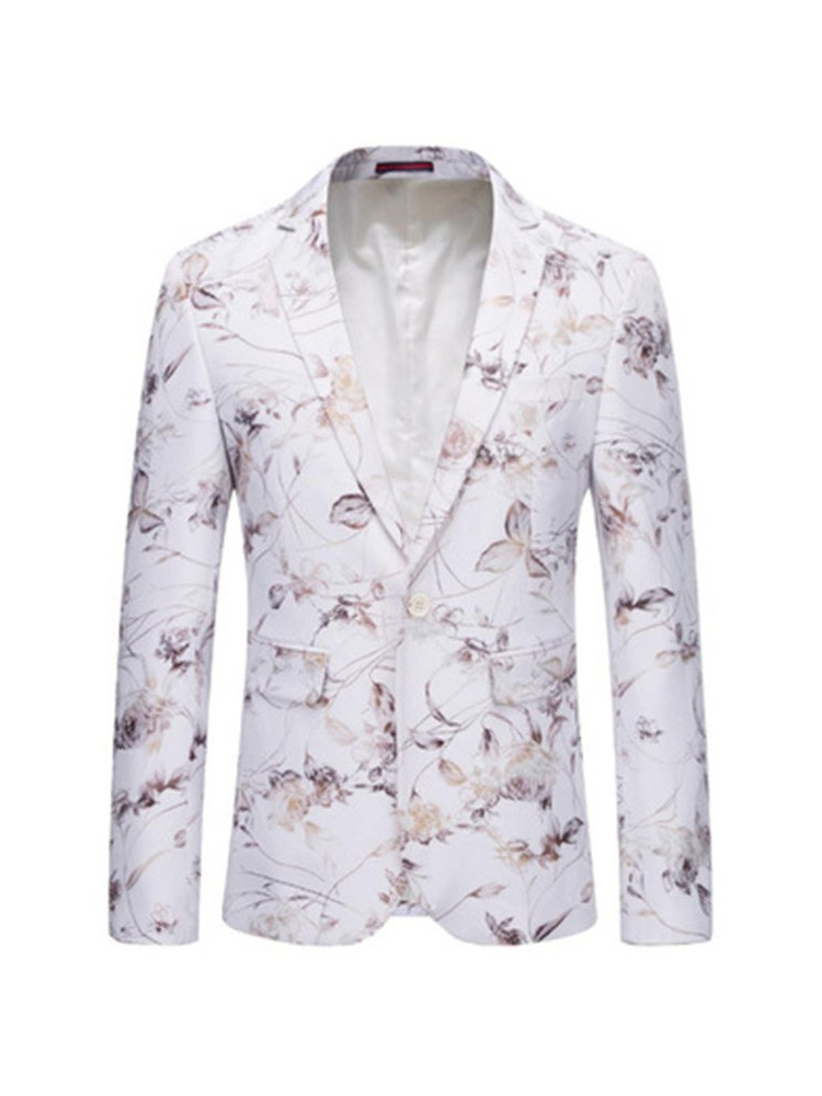Ericdress Print One Button Notched Lapel Mens Blazer