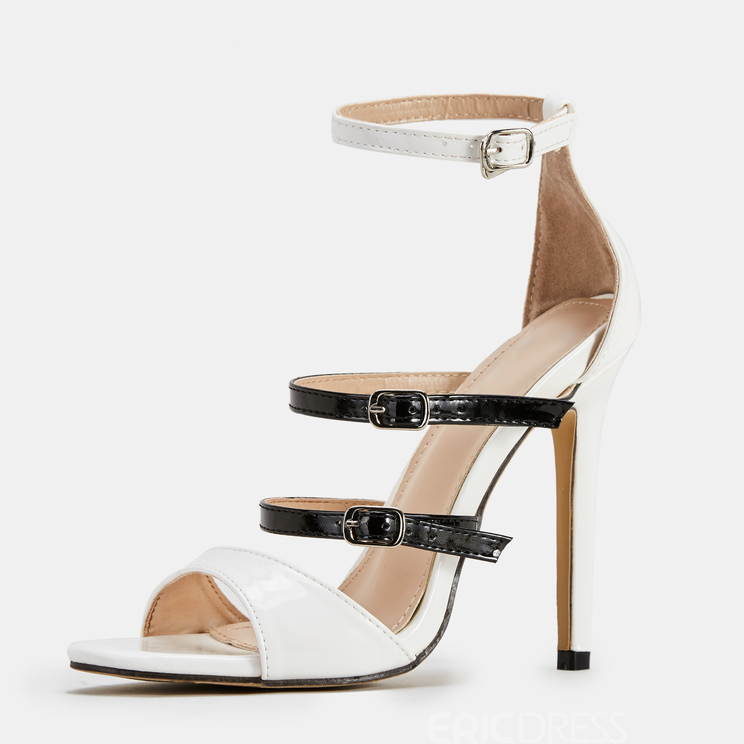 Ericdress Buckle Color Block Open Toe Stiletto Heel Women's Sandals