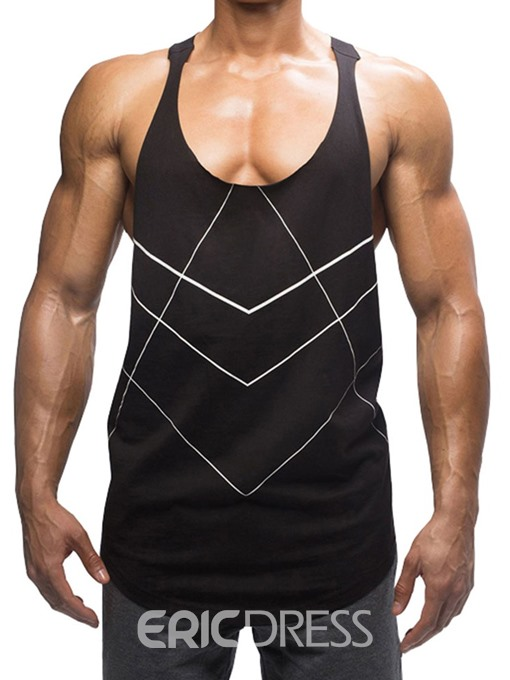 Ericdress Color Block Straight Print Mens Casual Vest