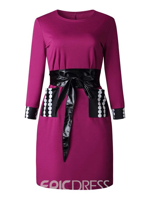Ericdress Long Sleeve Knee-Length Round Neck Casual Pullover Dress