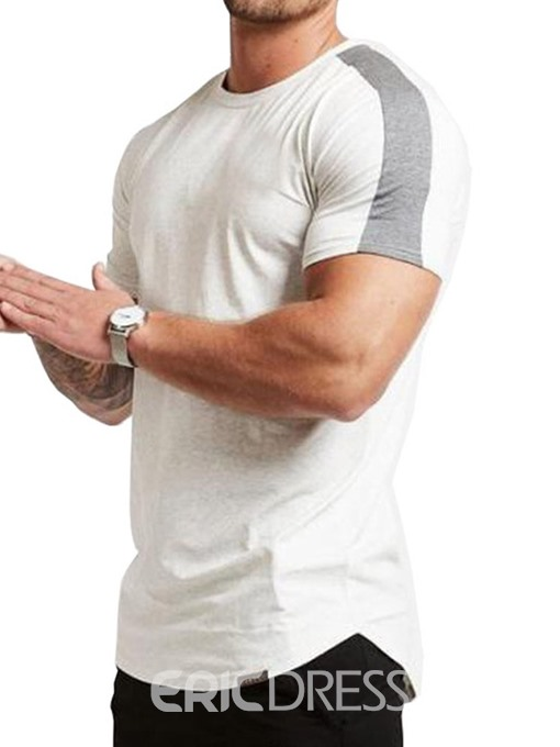 Ericdress European Color Block Round Neck Mens Short Sleeve Slim T-shirt