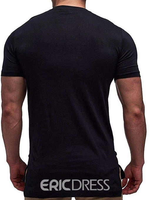 Ericdress Round Neck Color Block Wrapped Mens T-shirt
