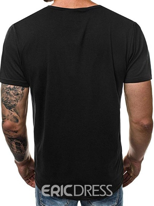 Ericdress Letter Print Slim Mens Wrapped T-shirt