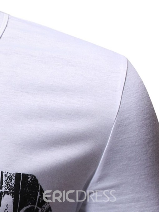 Ericdress Casual Print Round Neck Mens Loose T-shirt