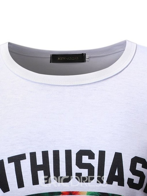 Ericdress Round Neck Print Casual Mens Wrapped T-shirt