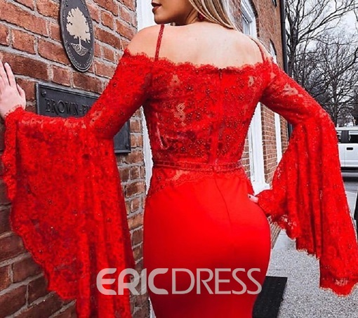 Ericdress Lace Long Sleeves Spaghetti Straps Mermaid Evening Dress 2019