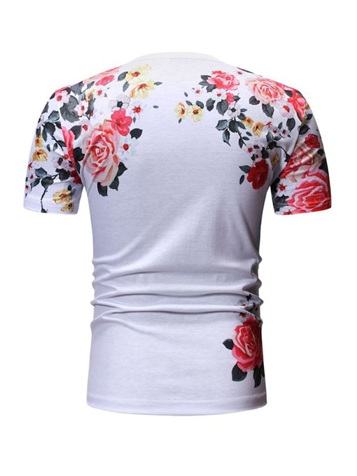 Ericdress Floral Print Casual Loose Mens Short Sleeve T-shirt