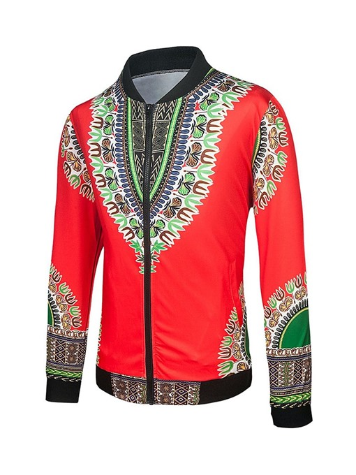 Ericdress Stand Collar Print Dashiki Slim Mens Casual Jacket