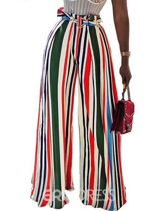 Ericdress Stripe Color Block Full Length Wide Legs Casual Pants
