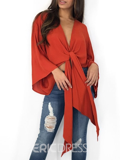 Ericdress V-Neck Plain Lace-Up Long Sleeve Blouse