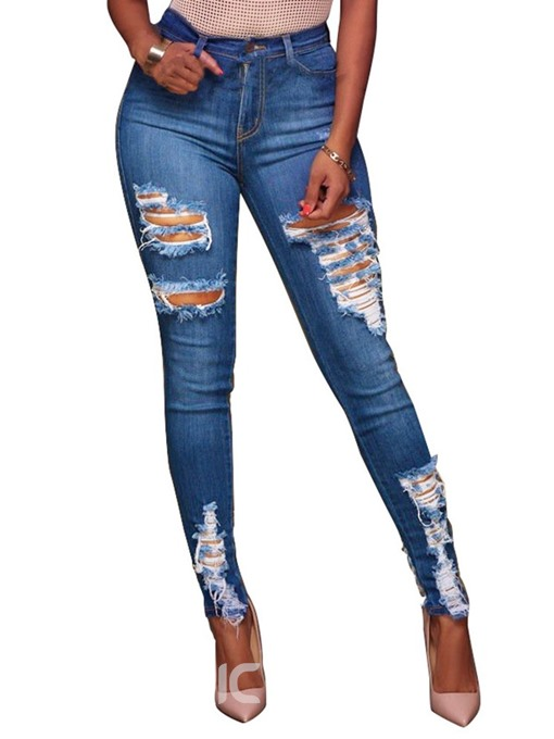 Ericdress Plain Worn Slim Mid Waist Ripped Jeans