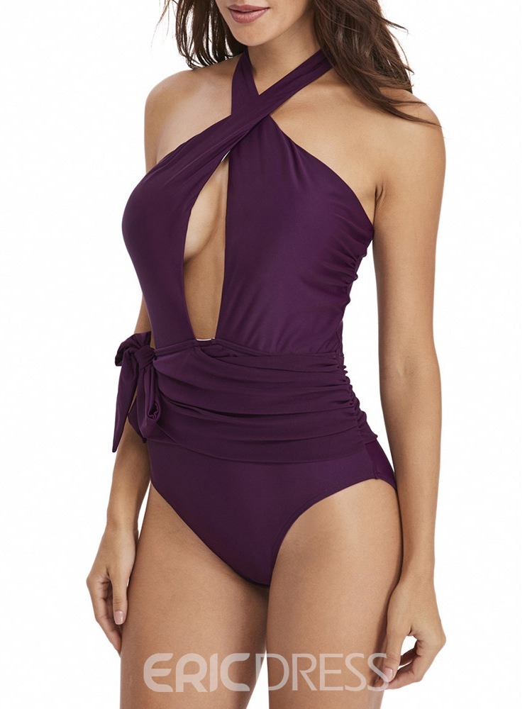 Ericdress Lace-Up Bowknot Beach Look Sexy Swimwear