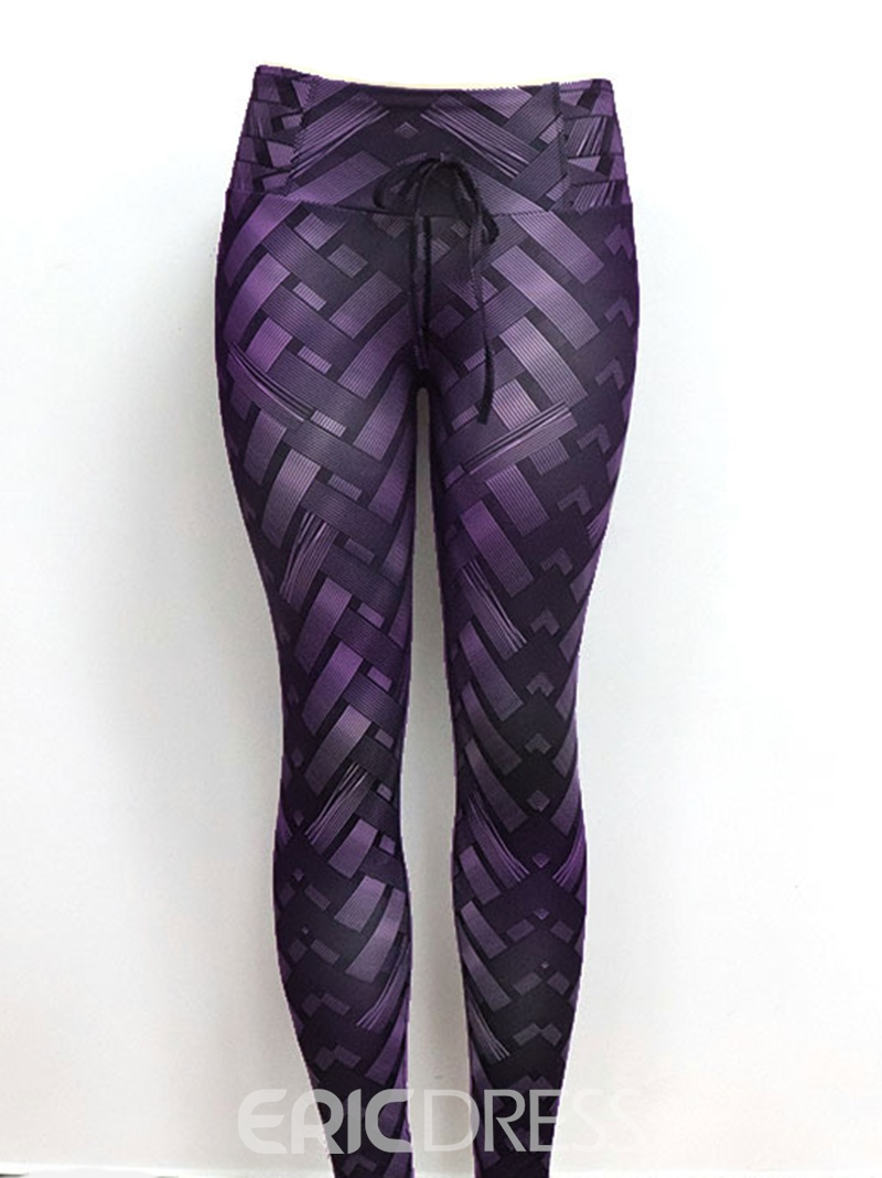 Ericdress Solid Weave Print Women's Yoga Pants