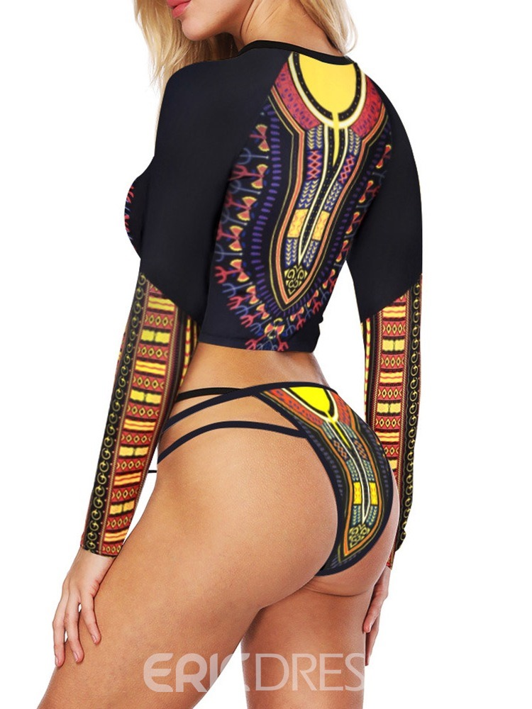 Ericdress Color Block Patchwork Print Swimsuit